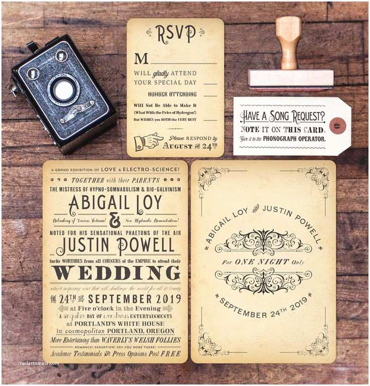 Steampunk Wedding Invitations Whimsical Vintage Steampunk Wedding Invitations by Royal