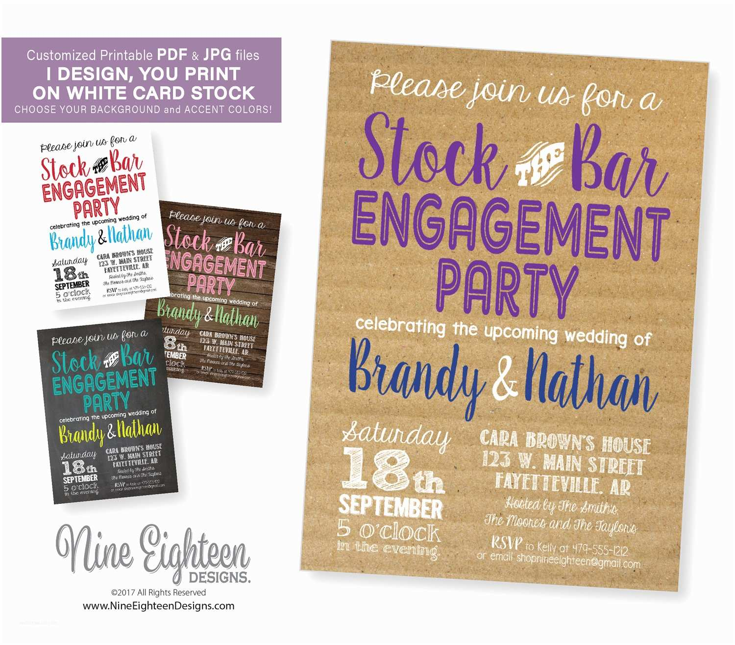 Stock the Bar Party Invitations Engagement Party Invitation Stock the Bar Party Customized
