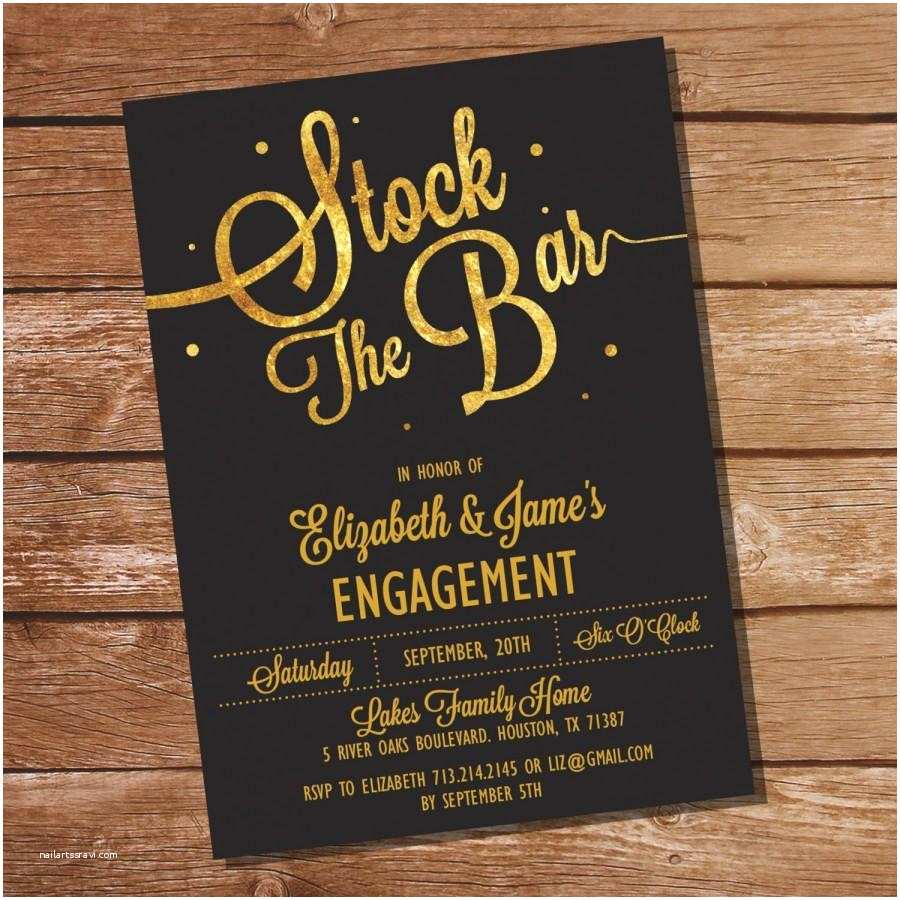 Stock the Bar Party Invitations Gold Glitter Stock the Bar Engagement Party Invitation