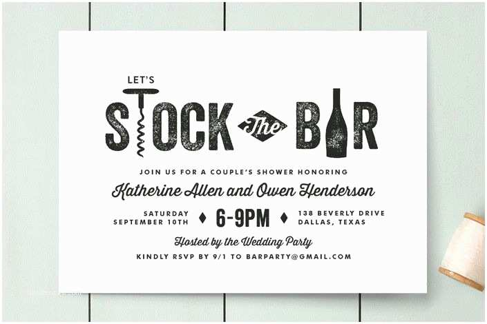 """Stock the Bar Party Invitations """"bar Cart"""" Customizable Engagement Party Invitations In"""