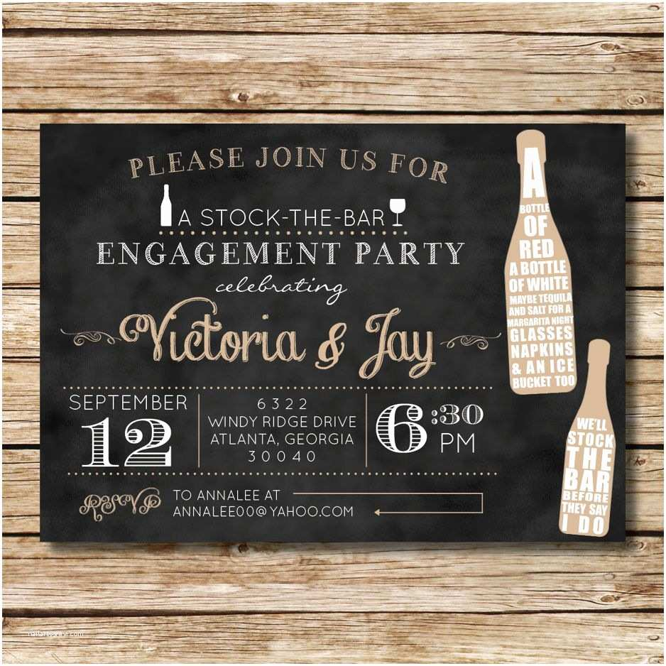 Stock the Bar Party Invitations Stock the Bar Engagement Shower Invitation Perfect for A