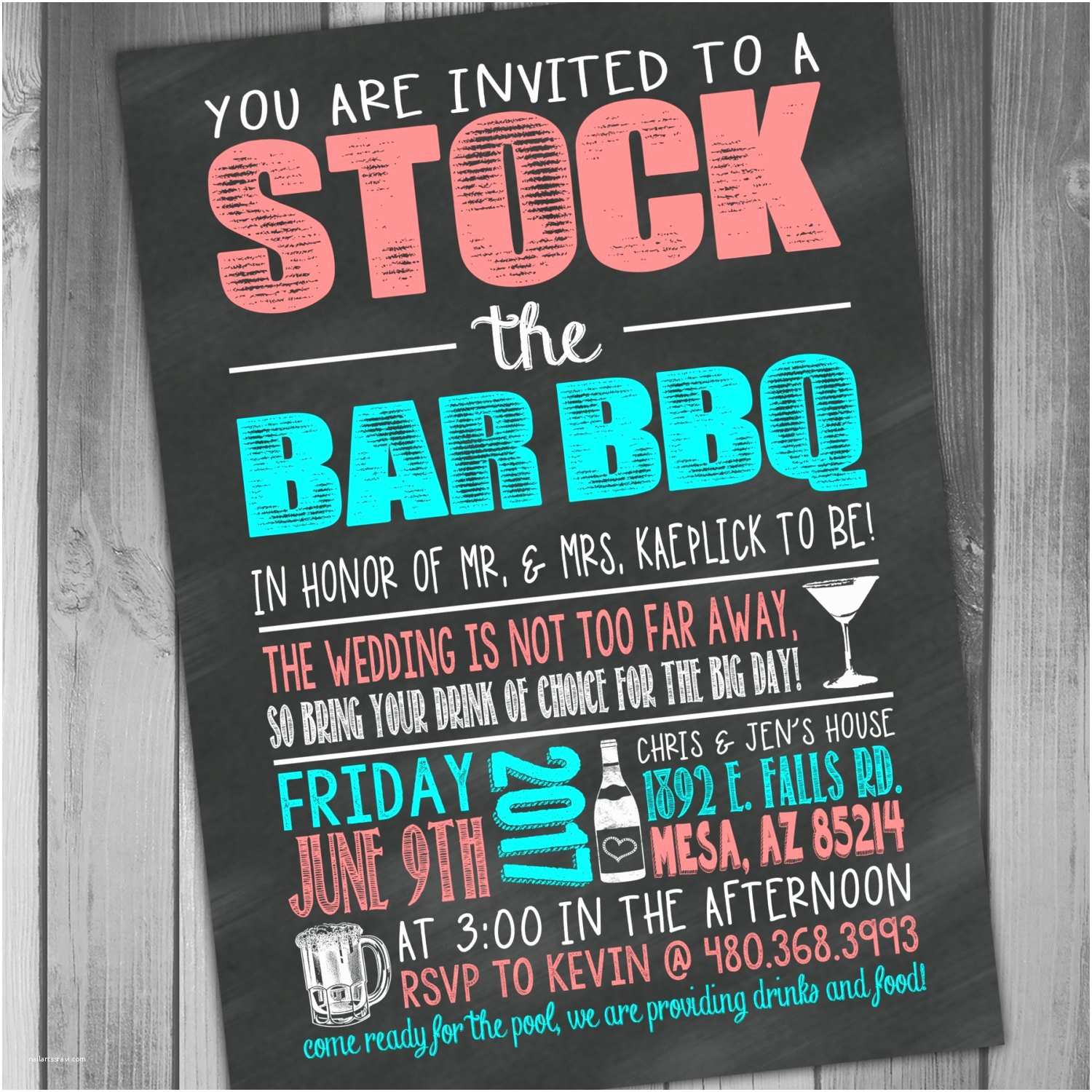 Stock the Bar Party Invitations Stock the Bar Invitation Stock the Bar Party Wedding Bbq I Do