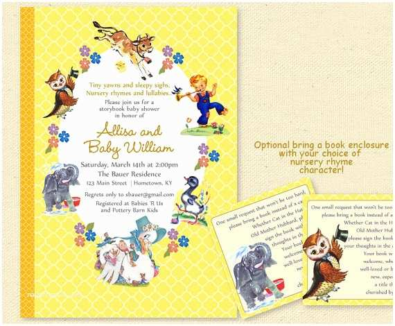 Storybook Baby Shower Invitations Baby Shower Nursery Rhyme Storybook Invitation Book Baby