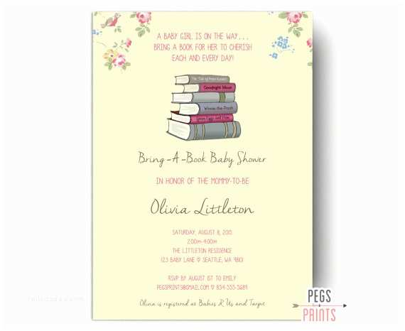 Storybook Baby Shower Invitations Bring A Book Baby Shower Invitation Storybook by Pegsprints