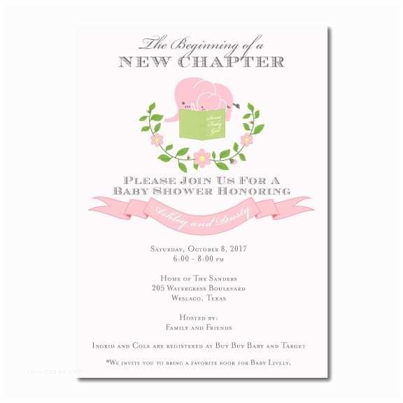 Storybook Baby Shower Invitations Pink Elephant Storybook Baby Shower Invitation