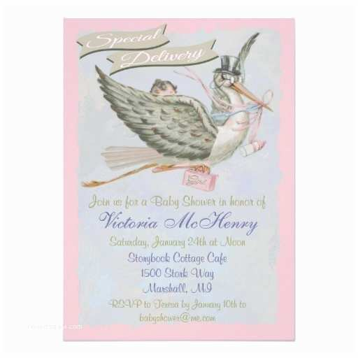 Storybook Baby Shower Invitations Vintage Storybook Stork Baby Shower Invitations