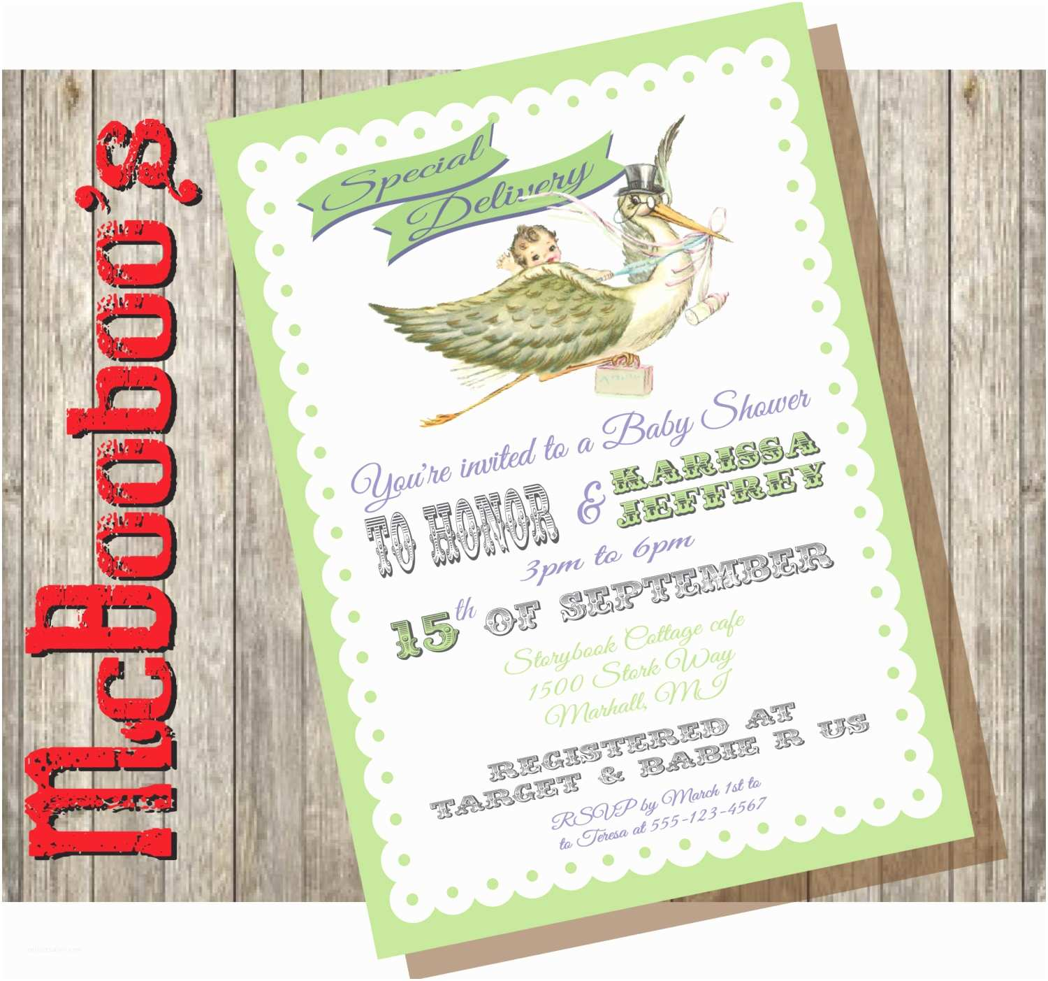 Storybook Baby Shower Invitations Vintage Storybook Stork Baby Shower Invitations