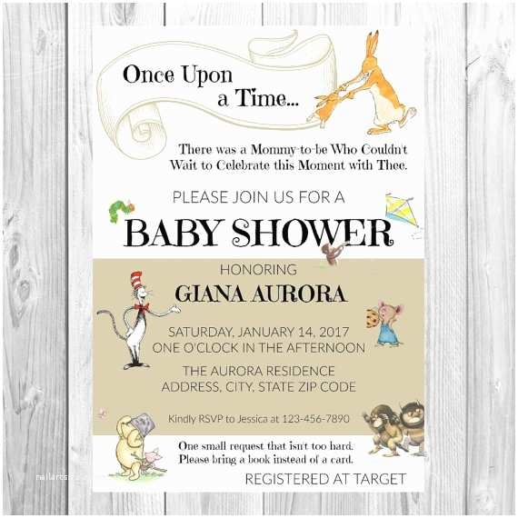 Storybook themed Baby Shower Invitations Baby Shower Storybook Invitations