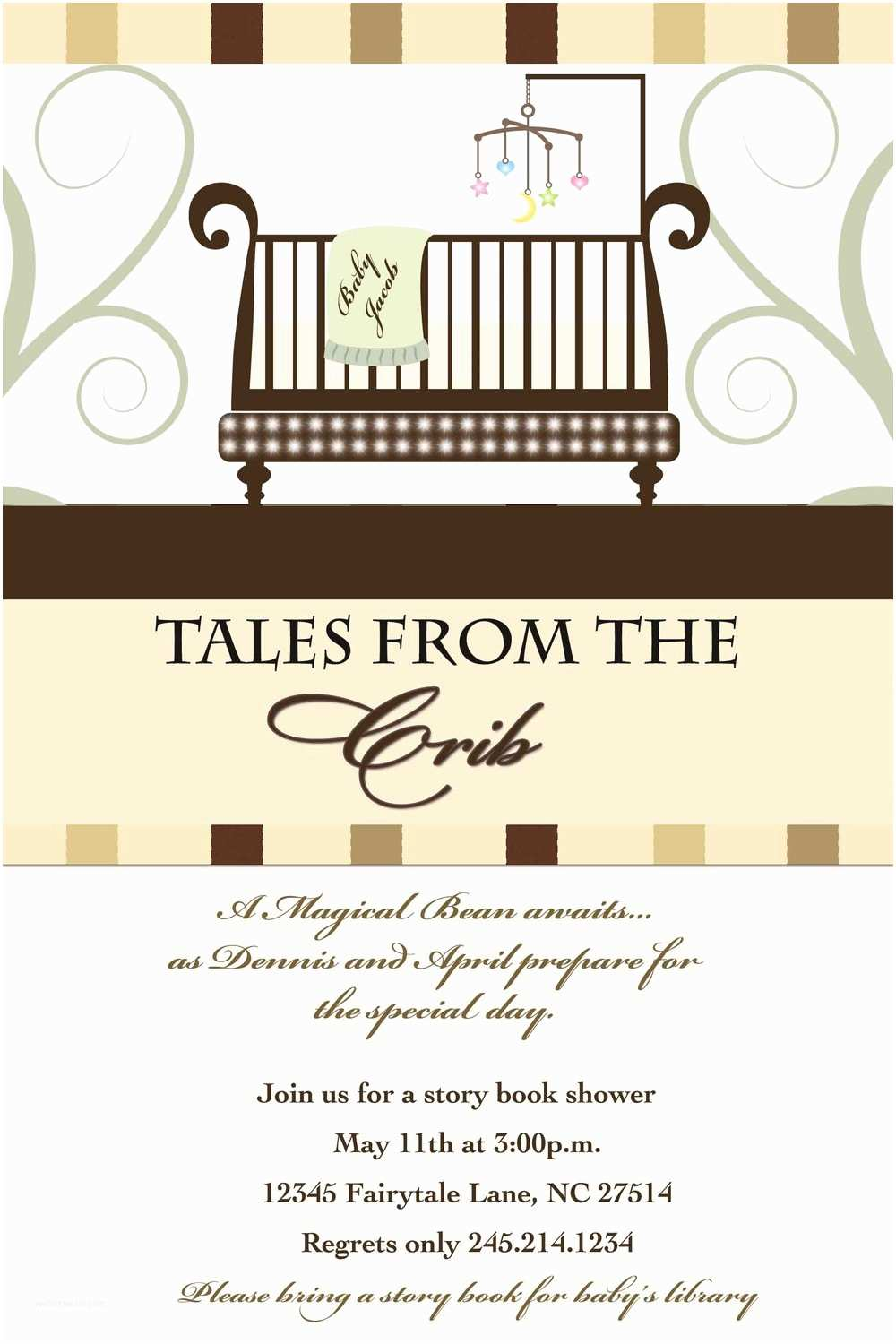 Storybook themed Baby Shower Invitations Story Book Baby Shower Invitation Tales From the Crib