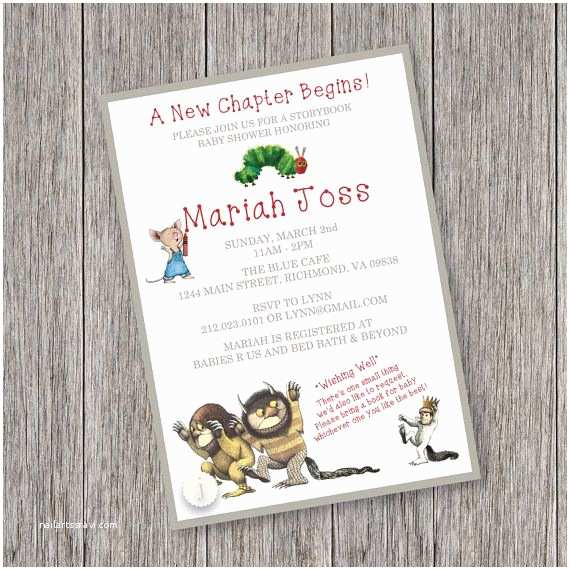 Storybook themed Baby Shower Invitations Storybook theme Printable Baby Shower Invitation