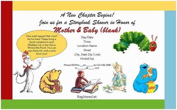 Storybook themed Baby Shower Invitations Storybook themed Baby Shower Invitations