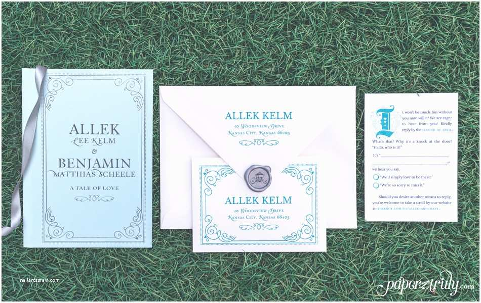 Storybook Wedding Invitations Fairytale Storybook Wedding Invitation Paper Truly