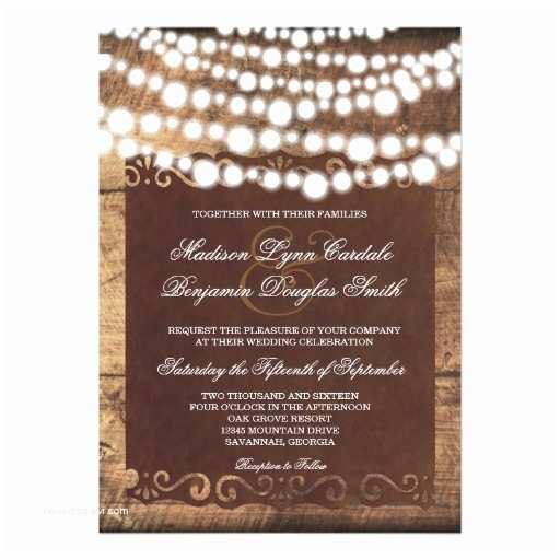 String Lights Wedding Invitation Rustic Country String Lights Wedding Invitations
