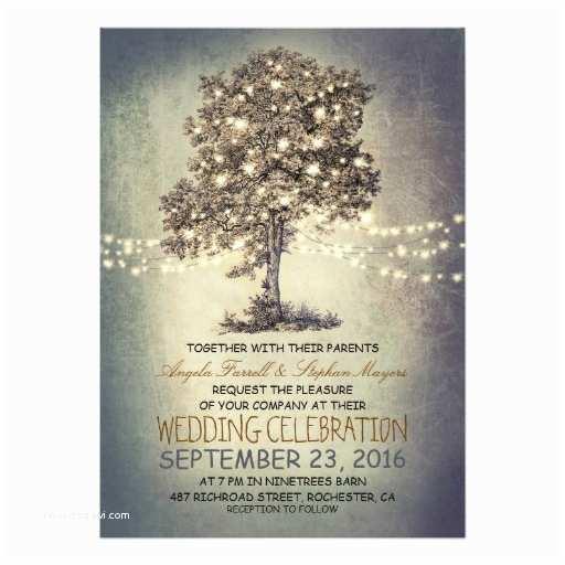 "String Lights Wedding Invitation Rustic Tree & String Lights Wedding Invitations 5"" X 7"