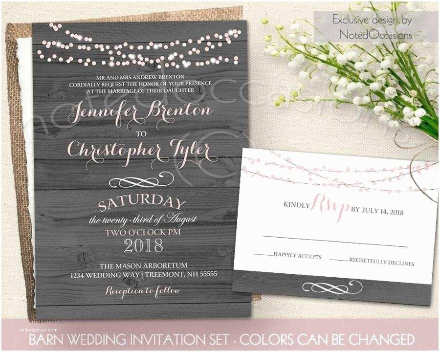 String Lights Wedding Invitation Rustic Wedding Invitation Printable String Lights Barn