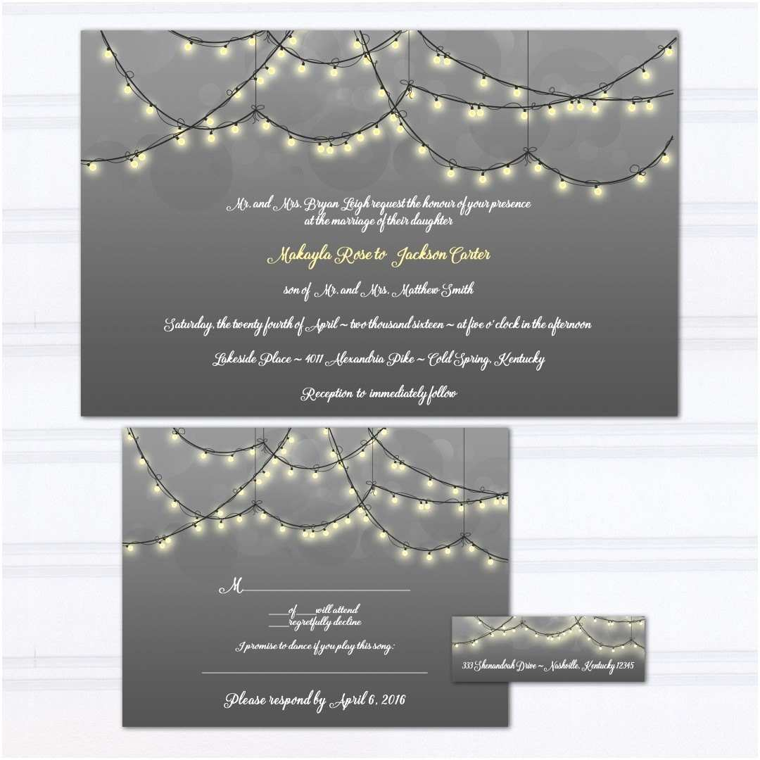 String Lights Wedding Invitation String Light Wedding Invitations Gray and Yellow Wedding