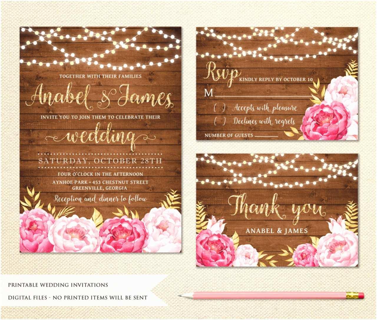 String Lights Wedding Invitation Sweet Peony Design