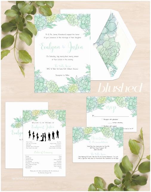 Succulent Wedding Invitations Katrina Crouch — Blushed Design Desert Succulent Wedding
