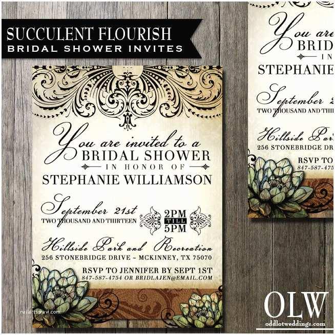 Succulent Wedding Invitations Succulent Bridal Shower Invitation Wedding Invitation