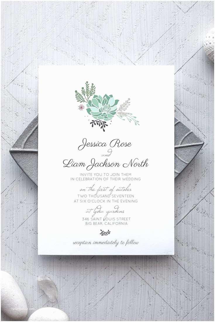 Succulent Wedding Invitations Succulent Printable Wedding Invitation Alchemie Press