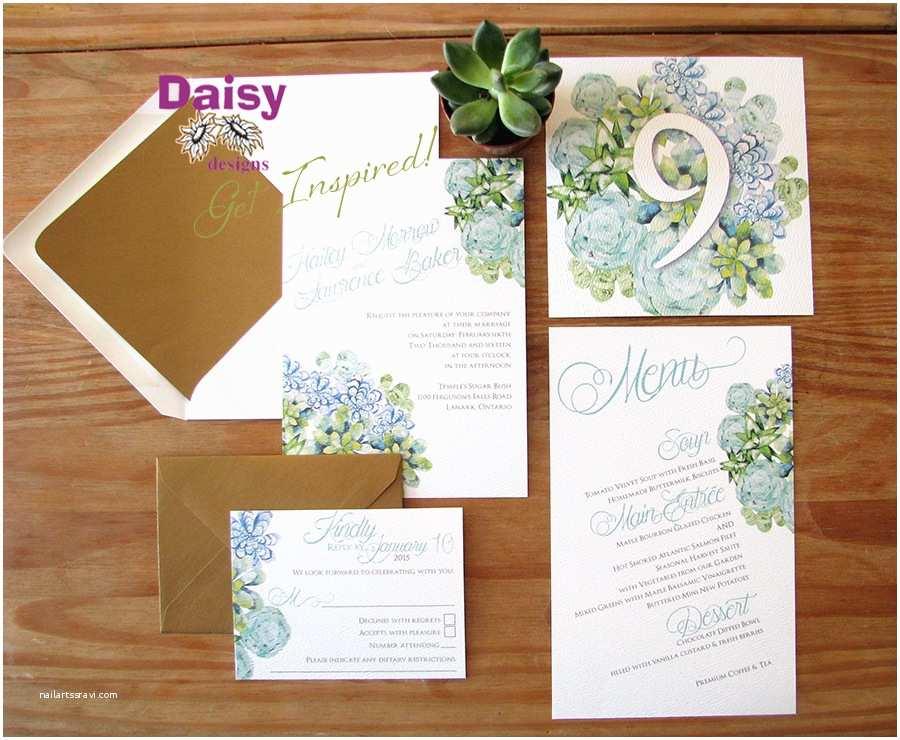 Succulent Wedding Invitations Succulents Wedding Invitations by Daisy Designs