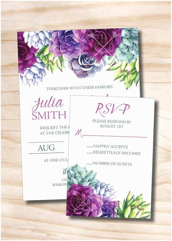 Succulent Wedding Invitations Watercolor Succulent Wedding Invitation and Response Card