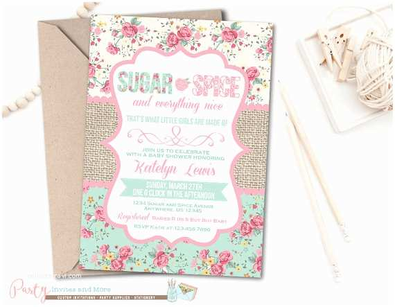 Sugar and Spice Baby Shower Invitations Baby Shower Invitation Sugar and Spice Baby by