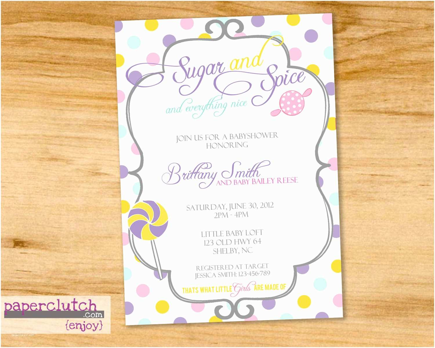 Sugar and Spice Baby Shower Invitations Chandeliers & Pendant Lights