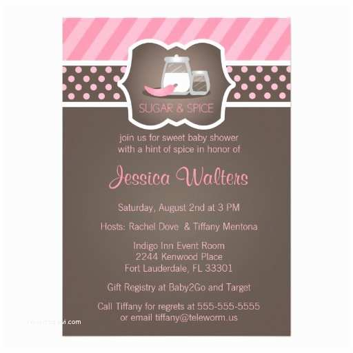"Sugar and Spice Baby Shower Invitations Chic Sugar and Spice Baby Shower Invitations 2 5"" X 7"