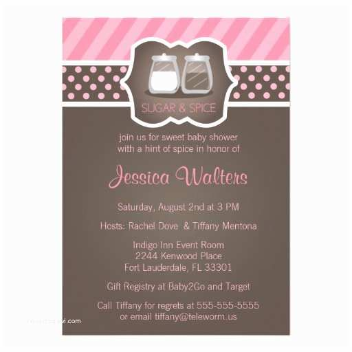 "Sugar and Spice Baby Shower Invitations Chic Sugar and Spice Baby Shower Invitations 5"" X 7"