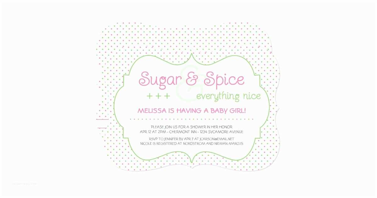 Sugar and Spice Baby Shower Invitations Custom Sugar and Spice Baby Shower Invitation