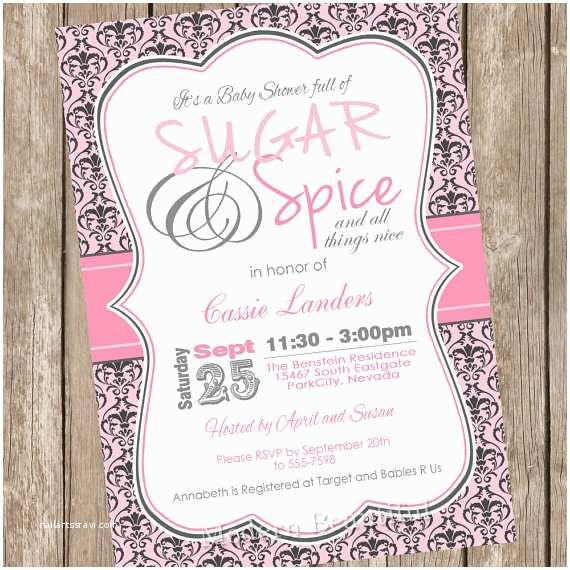 Sugar and Spice Baby Shower Invitations Damask Sugar and Spice Girl Baby Shower Invitation Pink