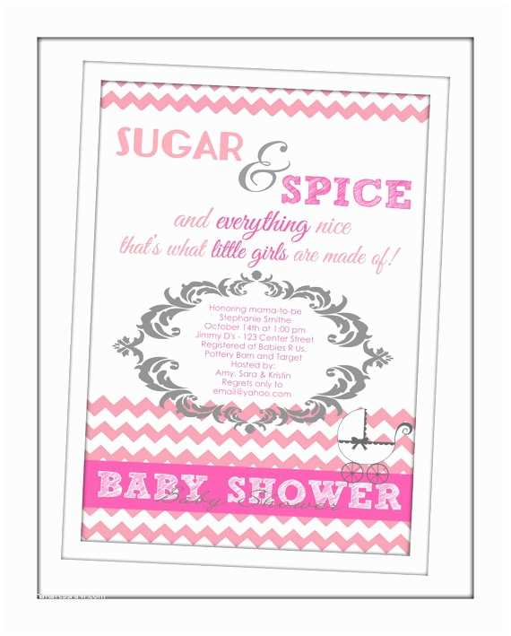 Sugar and Spice Baby Shower Invitations Items Similar to Sugar & Spice Baby Shower Invitation