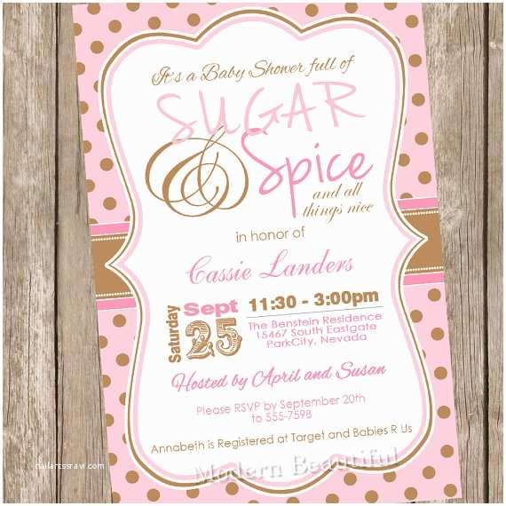 Sugar and Spice Baby Shower Invitations Polka Dot Sugar and Spice Girl Baby Shower Invitation