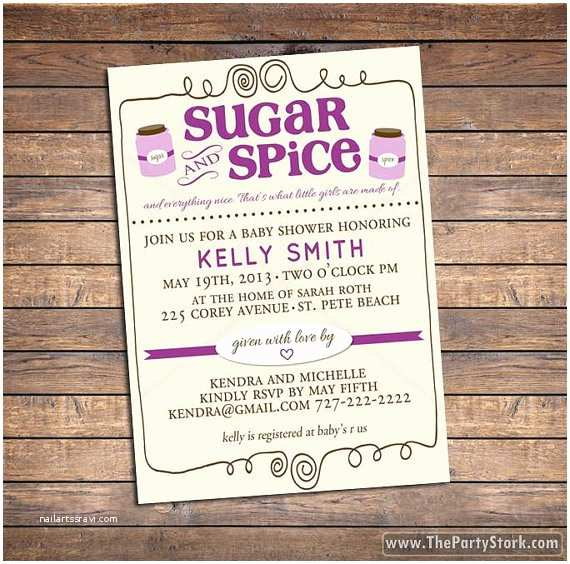 Sugar and Spice Baby Shower Invitations Printable Baby Shower Invitation Sugar and Spice Baby Girl