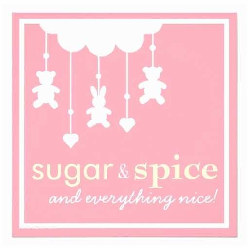 Sugar and Spice Baby Shower Invitations Sugar & Spice Girl Baby Shower Invitation