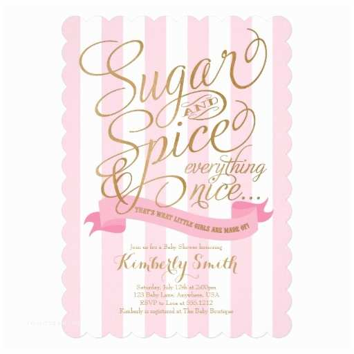 "Sugar and Spice Baby Shower Invitations Sugar and Spice Baby Girl Baby Shower Invitation 5"" X 7"