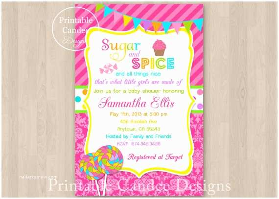 Sugar and Spice Baby Shower Invitations Sugar and Spice Baby Shower Invitation Diy by Printablecandee