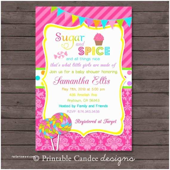 Sugar and Spice Baby Shower Invitations Sugar and Spice Baby Shower Invitation Diy Custom Printable