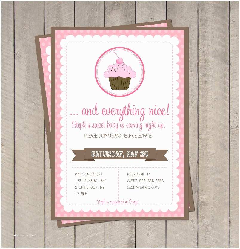 Sugar and Spice Baby Shower Invitations Sugar and Spice Baby Shower Invitation Pink & Brown Cupcake