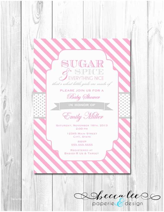 Sugar and Spice Baby Shower Invitations Sugar and Spice Baby Shower Invitation Stripes by
