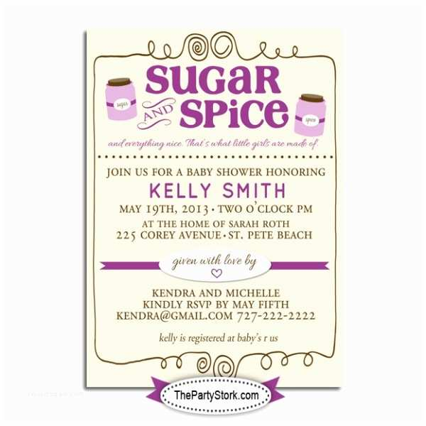 Sugar and Spice Baby Shower Invitations Sugar and Spice Baby Shower Invitations
