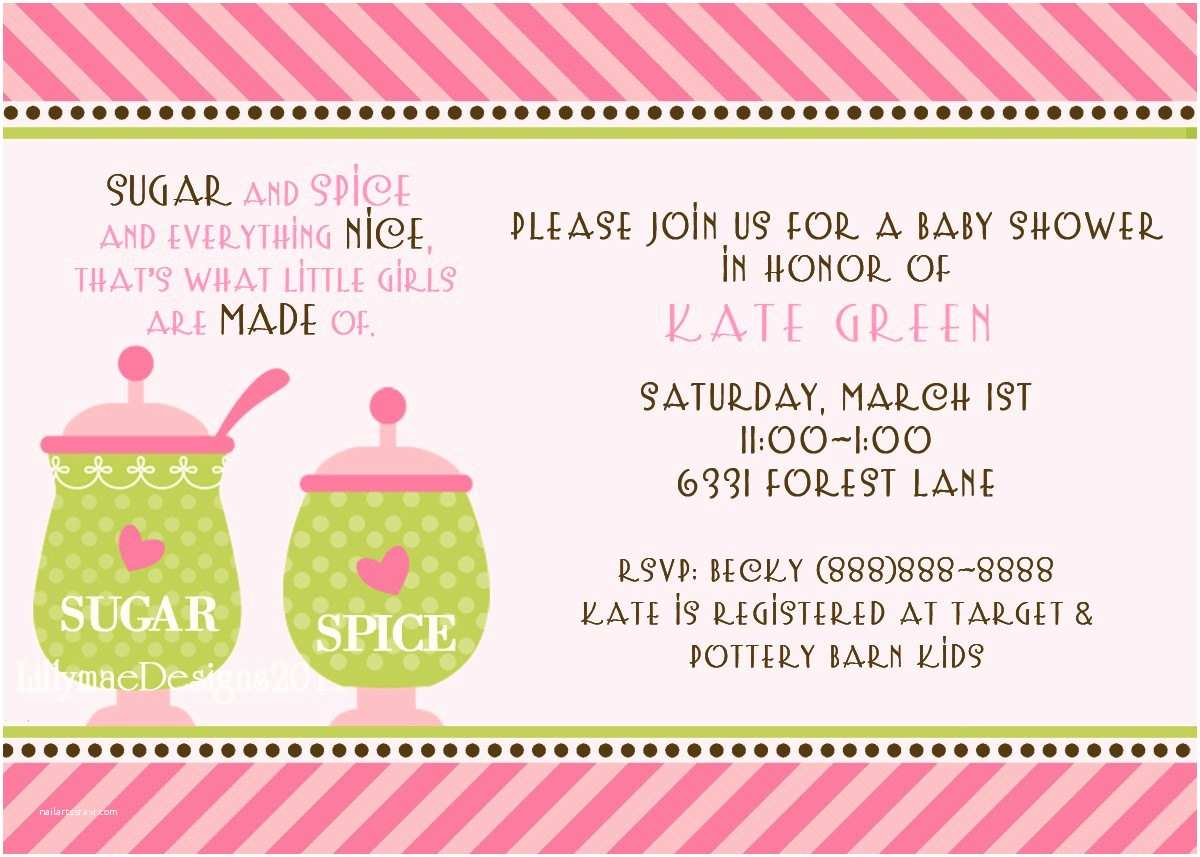 Sugar and Spice Baby Shower Invitations Sugar and Spice Baby Shower or Party Invitation by