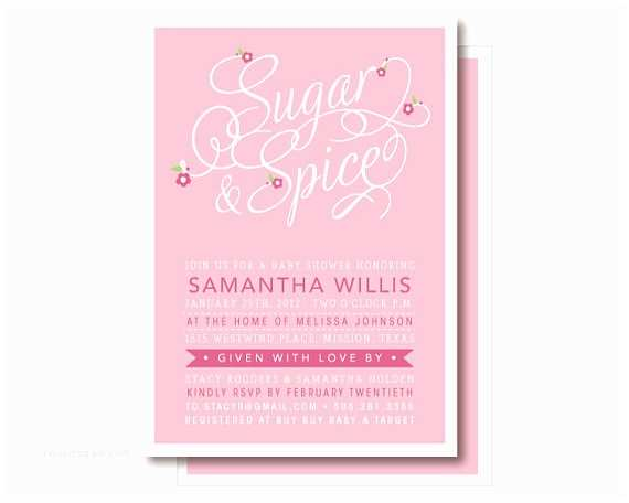 Sugar and Spice Baby Shower Invitations Sugar and Spice Invitations Baby Girl Shower Invitation