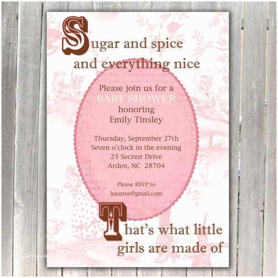 Sugar and Spice Baby Shower Invitations Sugar and Spice Nursery Rhyme Baby Shower Invitation