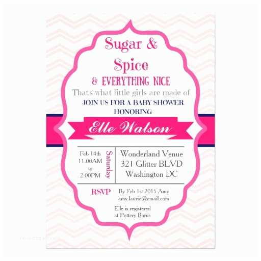 Sugar and Spice Baby Shower Invitations Sugar and Spice Pink Girl Baby Shower Invitations