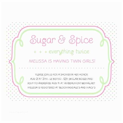 Sugar and Spice Baby Shower Invitations Sugar and Spice Twins Baby Shower Invitation