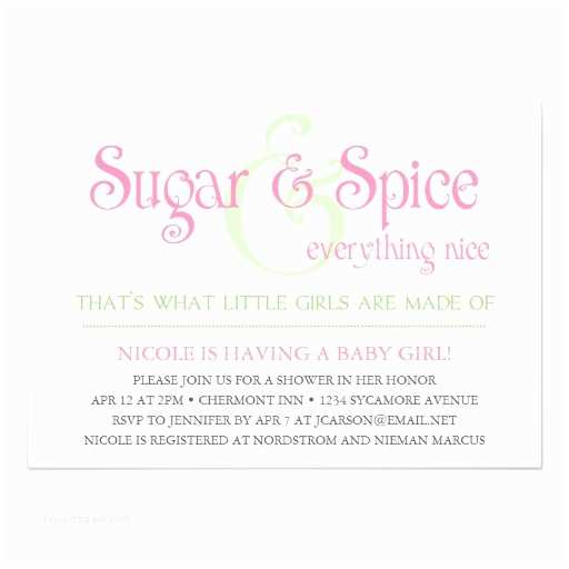 Sugar and Spice Baby Shower Invitations Sweetybaby Custom Sugar and Spice Baby Girl Shower Invitation