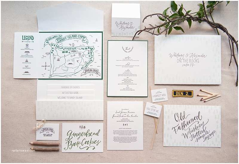sarah bens summer camp inspired wedding invitations