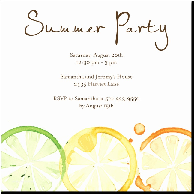 Summer Party Invitations Citrus Impression Chocolate Summer Pinterest
